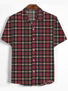 Plaid Printed Button Down Shirt - Cherry Red L