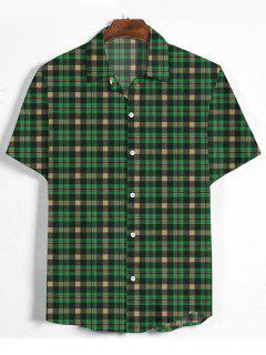 Plaid Printed Button Down Shirt - Medium Forest Green 3xl