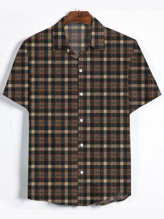 Plaid Printed Button Down Shirt - Brown Bear 3xl