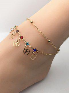 Double Layer Heart Charm Rhinestone Chain Anklets - Golden