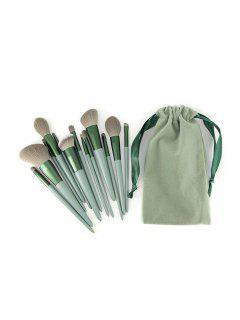 13Pcs Wooden Handle Makeup Brush Set - Medium Sea Green 13pcs