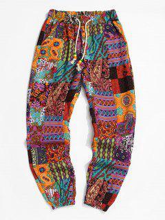 Tribal Paisley Print Elastic Waist Jogger Pants - Bright Orange L