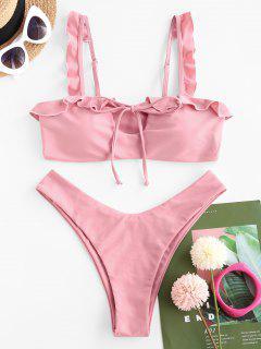 ZAFUL Ruffle Tie High Cut Bikini Swimwear - Light Pink S