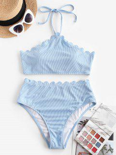 ZAFUL Ribbed Scalloped Halter High Waisted Tankini Swimwear - Light Blue L