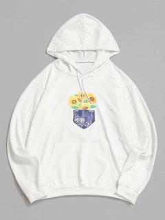 Sonnenblumen Galaxy Druck Beutel Tasche Hoodie - Weiß L