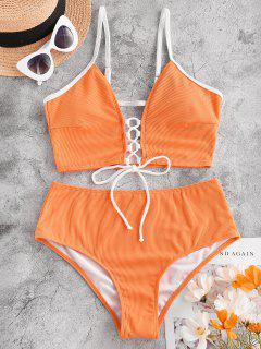 ZAFUL Lace Up Cut Out Ribbed Tankini Swimwear - Dark Orange L