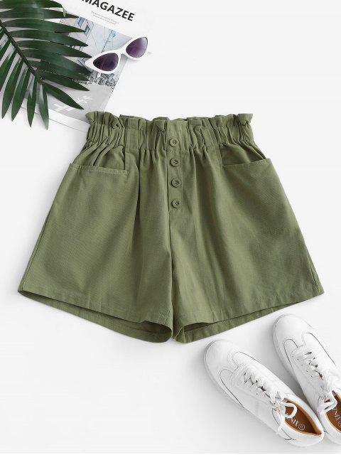 sale Frilled Pocket High Waisted Buttoned Shorts - LIGHT GREEN ONE SIZE Mobile