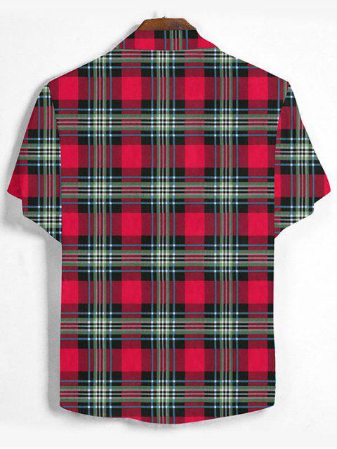 Karierter Druck Knopf Hemd - Lava Rot 2XL Mobile