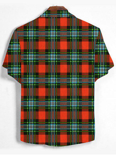 Chemise Imprimée à Carreaux Boutonnée - Orange Papaye M Mobile