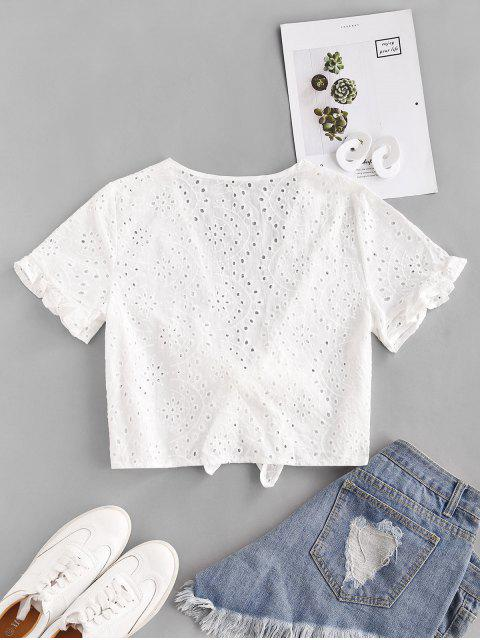 best Eyelet Ruffled Sleeve Tie Front Cropped Blouse - WHITE L Mobile