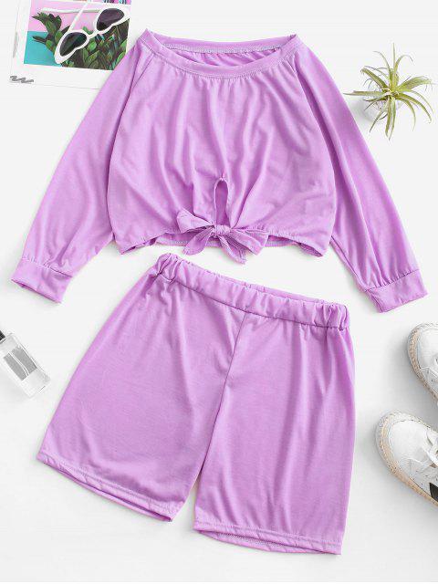 shops Raglan Sleeve Tie Hem Cropped Two Piece Set - LIGHT PURPLE S Mobile
