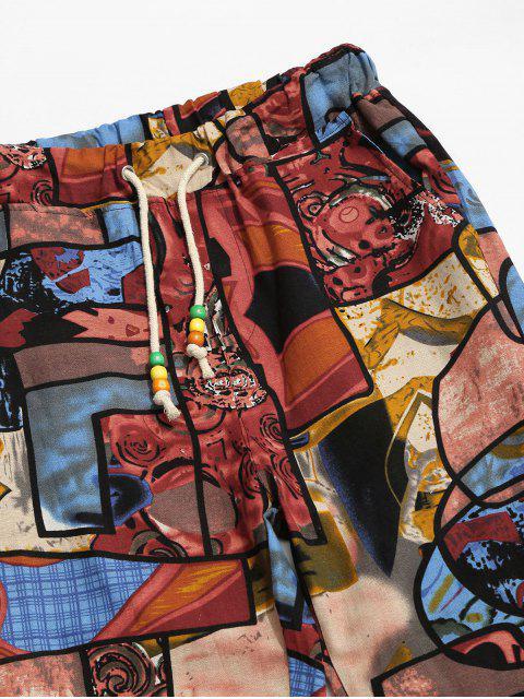 Pantalones Jogger con Cintura Elástica y Estampado Tribal - Multicolor-B S Mobile