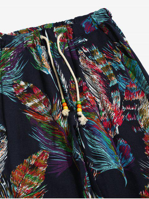 shops Flower Feather Tribal Print Drawstring Jogger Pants - MIDNIGHT BLUE XS Mobile