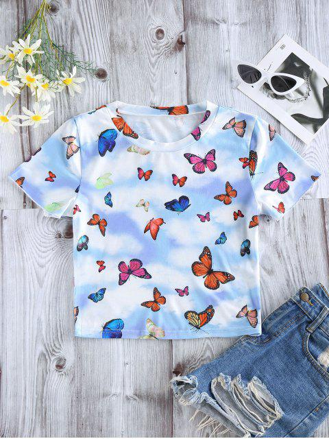 fancy ZAFUL Butterfly Cloud Print Short Sleeve T-shirt - LIGHT BLUE M Mobile