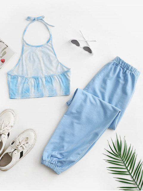 womens Tie Dye Halter Crop Top and Jogger Pants Set - LIGHT BLUE XL Mobile