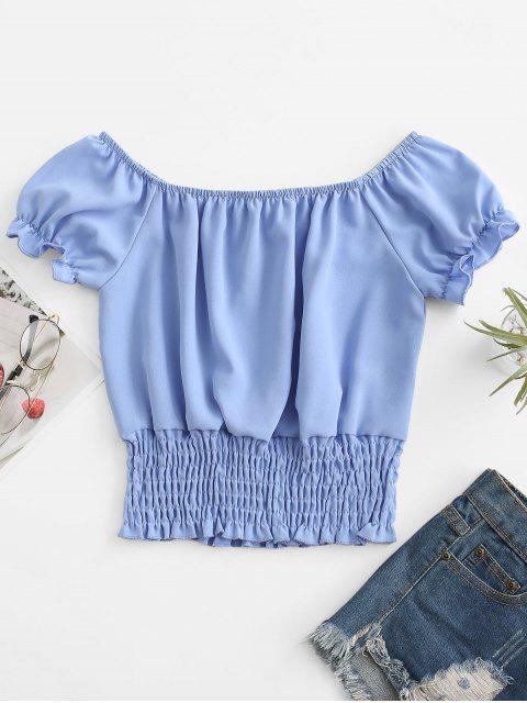 sale ZAFUL Puff Sleeve Smocked Tie Frilled Blouse - LIGHT BLUE XL Mobile