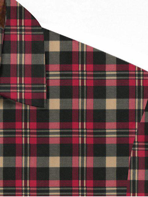 women Plaid Printed Button Down Shirt - CHERRY RED L Mobile