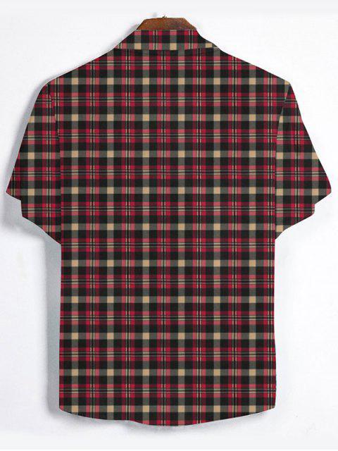 Chemise à Carreaux Imprimée Boutonnée - Rouge Cerise 2XL Mobile
