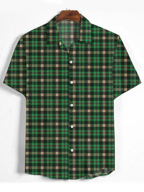 outfit Plaid Printed Button Down Shirt - MEDIUM FOREST GREEN 3XL Mobile