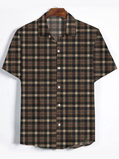 trendy Plaid Printed Button Down Shirt - BROWN BEAR 3XL Mobile