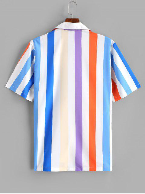 shop Colorful Striped Printed Short Sleeves Shirt - BLUE 2XL Mobile