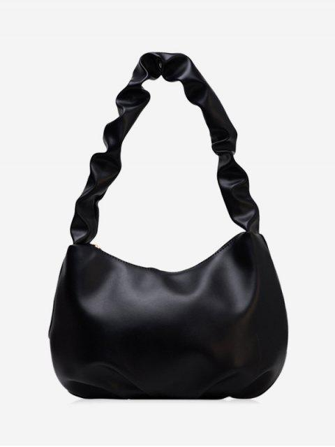 fancy Wrinkle Handle Leather One Shoulder Bag - BLACK  Mobile