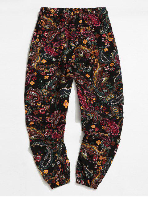Pantalones Jogger Cintura Elástica Estampado Tribal - Negro XL Mobile