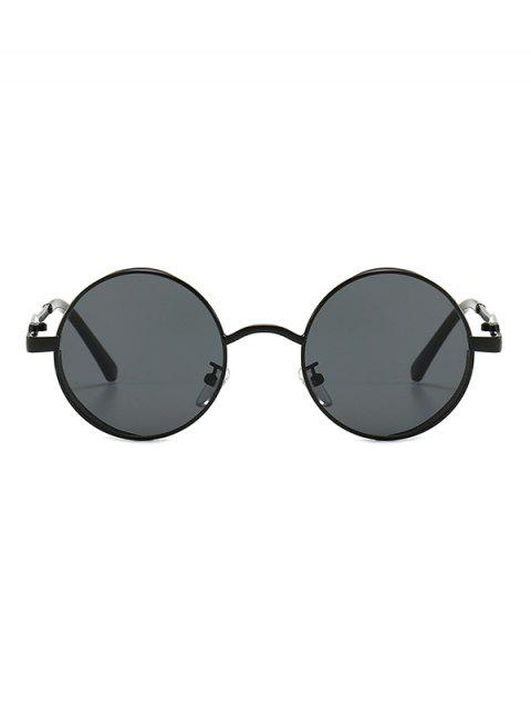 trendy Hollow Out Frame Round Sunglasses - BLACK  Mobile