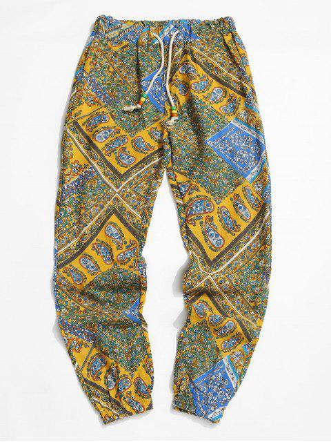 sale Tribal Paisley Print Elastic Waist Jogger Pants - BRIGHT YELLOW XL Mobile