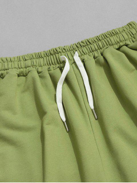 best Drawstring Contrast Layered Sweat Shorts - SALAD GREEN XL Mobile
