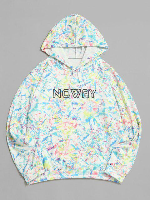 chic Noway Letter Tie Dye Pouch Pocket Hoodie - WHITE S Mobile