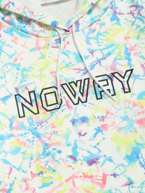 affordable Noway Letter Tie Dye Pouch Pocket Hoodie - WHITE 2XL Mobile