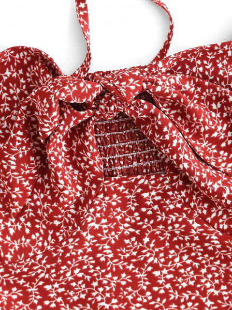 fashion ZAFUL Ditsy Print Knotted Smocked Tie Blouse - RED M Mobile