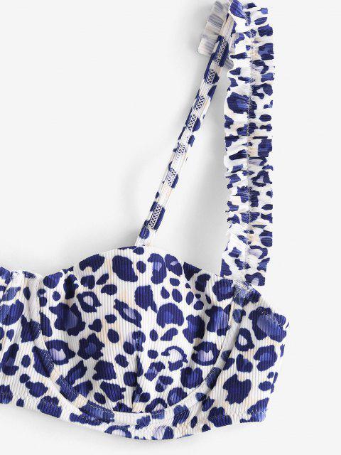 shops ZAFUL Ribbed Leopard Frilled Underwire Balconette Bikini Swimwear - BLUE S Mobile