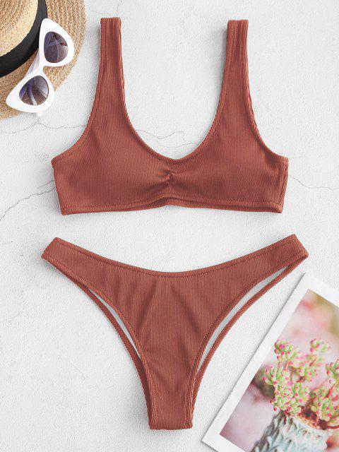 ZAFUL Strukturierte Gerippte Bikini Badebekleidung - Kirschrot S Mobile