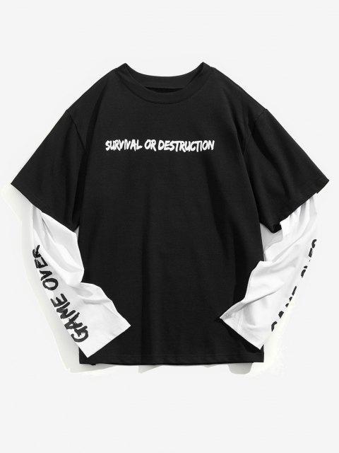 T-Shirt Grafica a Slogan con Maniche Lunghe - Nero L Mobile