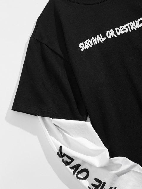 T-Shirt Grafica a Slogan con Maniche Lunghe - Nero XL Mobile