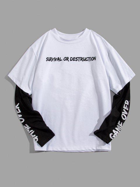 T-Shirt Grafica a Slogan con Maniche Lunghe - Bianca S Mobile