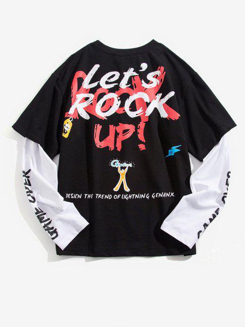 T-Shirt Grafica a Slogan con Maniche Lunghe - Nero M Mobile