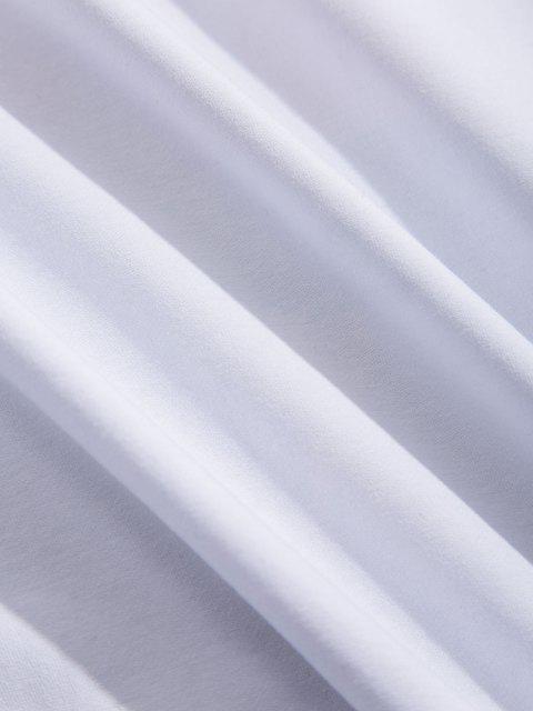 T-Shirt Grafica a Slogan con Maniche Lunghe - Bianca XS Mobile
