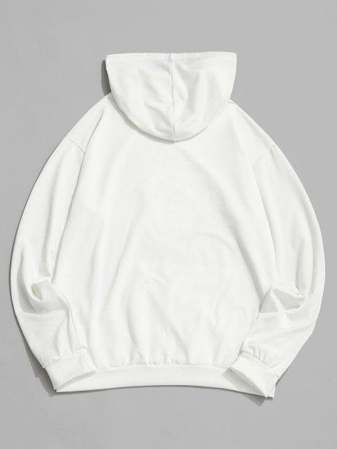 new Sunflower Galaxy Print Pouch Pocket Hoodie - WHITE XL Mobile
