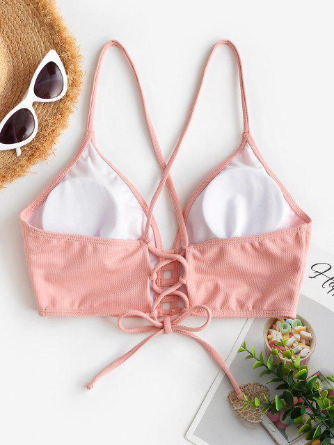 ZAFUL Top de Biquíni com Tiras Cruzadas com Tiras Texturizadas - Luz rosa S Mobile