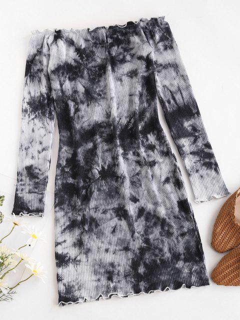 Vestido Acanalado de Hombro Descubierto - Gris XL Mobile