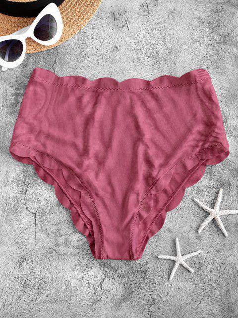 women's ZAFUL Ribbed Scalloped Full Coverage Bikini Bottom - LIGHT PINK S Mobile