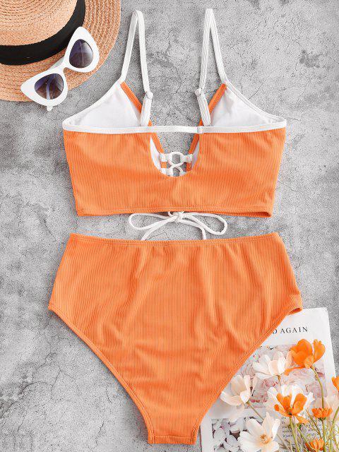 ZAFUL Costume da Bagno Tankini a Costine con Lacci - Arancione Scuro 2XL Mobile