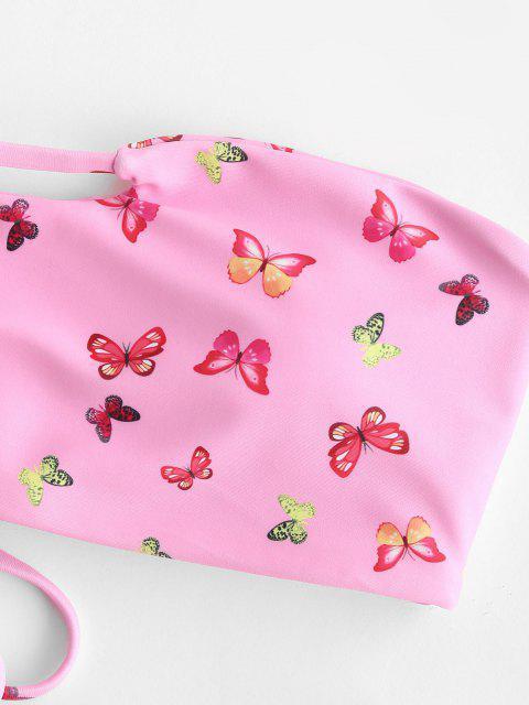 best ZAFUL Butterfly Print Keyhole Cutout Tanga Bandeau Bikini Swimwear - LIGHT PINK S Mobile