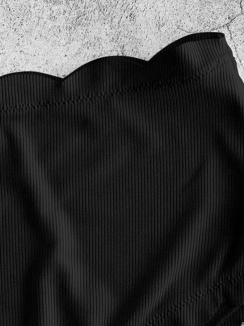 unique ZAFUL Ribbed Scalloped Full Coverage Bikini Bottom - BLACK M Mobile