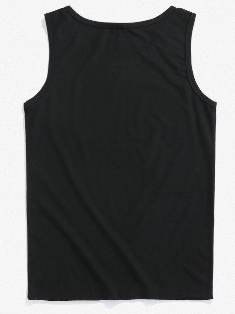 ZAFUL Débardeur Décontracté Main Imprimée - Noir XL Mobile