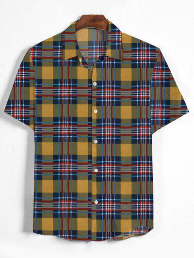 Plaid Print Button Down Shirt - Bee Yellow Xl
