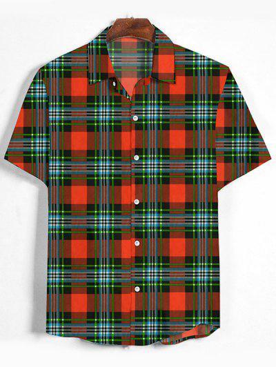 Plaid Print Button Down Shirt - Papaya Orange Xl